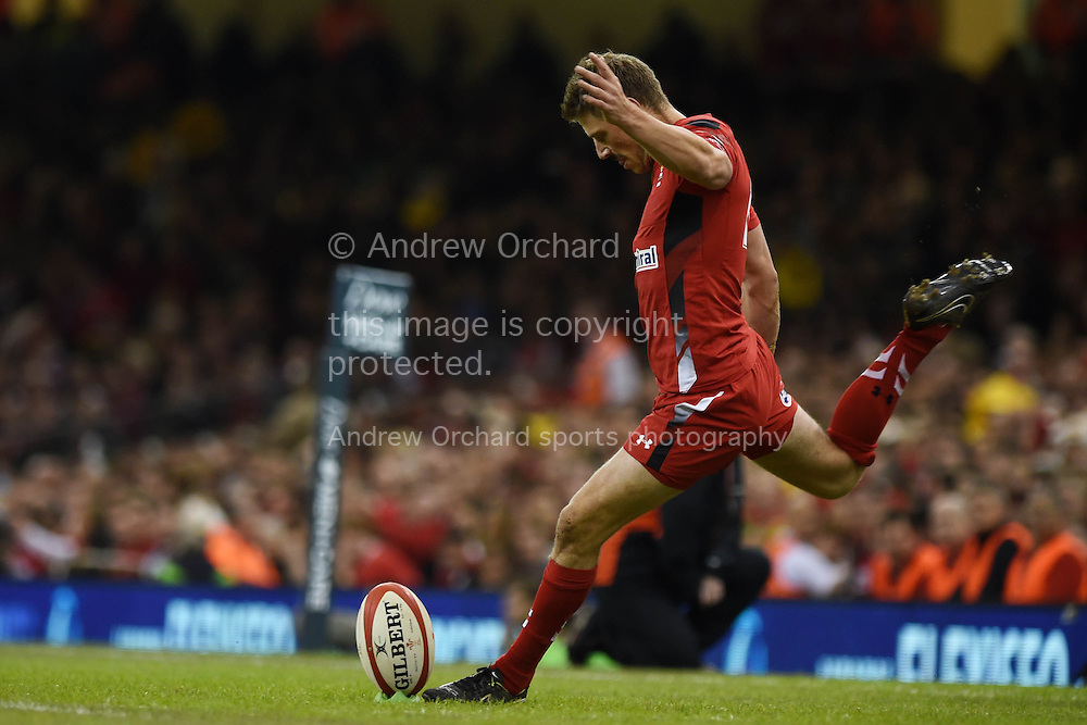 Rhys Priestland of Wales takes a conversion. Dove Men series 2014, autumn international rugby, Wales v Fiji at the Millennium Stadium in Cardiff, South Wales on Saturday 15th November 2014.<br /> pic by Andrew Orchard, Andrew Orchard sports photography.