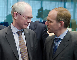 Herman Van Rompuy, president of the European Council, left speaks with Luc Frieden, Luxembourg's finance minister, right, during the first meeting of the Van Rompuy task force on economic governance, in Brussels, on Friday, May 21, 2010. (Photo © Jock Fistick)
