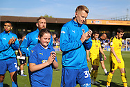 AFC Wimbledon striker Joe Pigott (39) and mascot during the EFL Sky Bet League 1 match between AFC Wimbledon and Oxford United at the Cherry Red Records Stadium, Kingston, England on 29 September 2018.