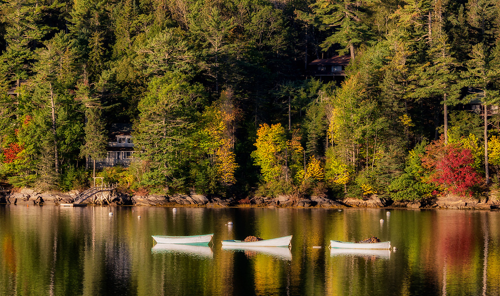 Early morning capturing working dories among the reflections on nearly still water in Lewis Cove.