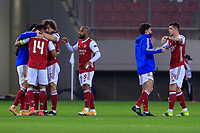 PIRAEUS, GREECE - FEBRUARY 25: Players of Arsenal FC celebrate after the UEFA Europa League Round of 32 match between Arsenal FC and SL Benfica at Karaiskakis Stadium on February 25, 2021 in Piraeus, Greece. (Photo by MB Media)
