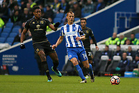 Football - 2016 / 2017 FA Cup - Third Round: Brighton and Hove Albion vs. MK Dons<br /> <br /> Brighton's Steve Sidwell and Chuks Aneke of MK Dons in action at the Amex Stadium Brighton<br /> <br /> Colorsport/Shaun Boggust