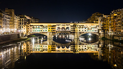 Ponte Vecchio reflections at night, Florence, Italy. 26/08/15 Photo by Andrew Tallon