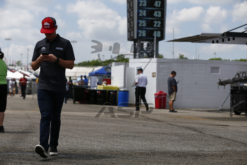 April 28, 2017 - Richmond, Virginia, USA: Ryan Reed (16) hangs out in the garage during practice for the ToyotaCare 250 at Richmond International Speedway in Richmond, Virginia.