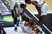 Basketball: Deutschland, 1. Bundesliga, Hamburg Towers - HAKRO Merlins Crailsheim, Hamburg, 10.01.2021<br /> TJ Shorts (Toers) verletzt am Boden<br /> © Torsten Helmke
