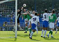Photo: Andrew Unwin.<br />Northern Ireland v Azerbaijan. FIFA World Cup Qualifying match. 03/09/2005.<br />Azerbaijan's goalkeeper, Dmitri Kramarenko, punches the ball clear.