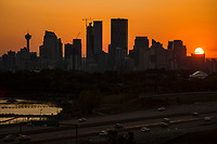 Calgary Skyline, Bow River & Deerfoot Trail Highway @ Sunset