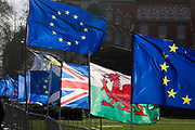 The EU, the Union Jack and the Welsh flags fly opposite parliament on College Green during the continuing protest against Brexit, on 19th February 2019, in London, England.