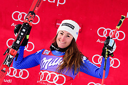 January 19, 2018 - Cortina D'Ampezzo, Dolimites, Italy - Sofia Goggia of Italy on podium celebrating her victory at the Cortina d'Ampezzo FIS World Cup in Cortina d'Ampezzo, Italy on January 19, 2018. (Credit Image: © Rok Rakun/Pacific Press via ZUMA Wire)