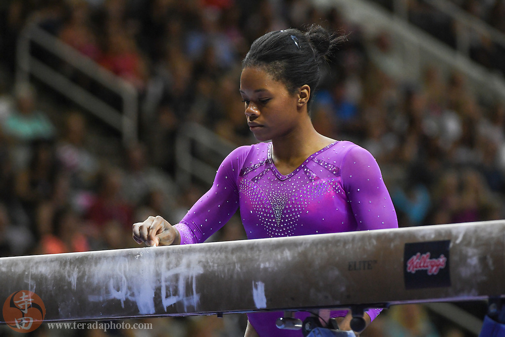 July 8, 2016; San Jose, CA, USA; Gabby Douglas, from Tarzana, CA, during the balance beam in the women's gymnastics U.S. Olympic team trials at SAP Center.