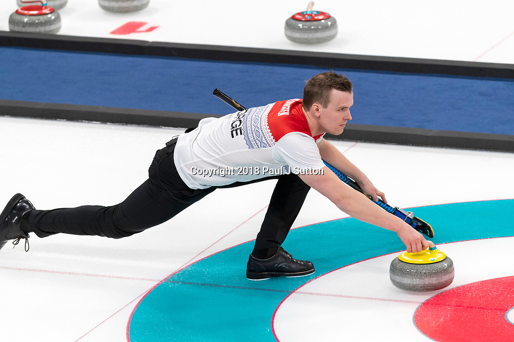Magnus Nedregotten (NOR) competing in the Mixed Doubles Curling round robin at the Olympic Winter Games PyeongChang 2018