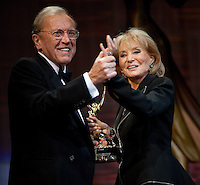 Sir David Frost and Barbara Walters dance on stage in celebration of Frost's being awarded The Founders Award at the 37th International Emmy Awards Gala in New York on Monday, November 23, 2009.  ***EXCLUSIVE***