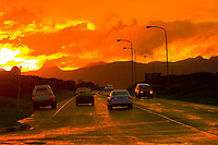 Dramatic clouds at sunset after a rainstorm, Strandfontein (near Cape Town), South Africa