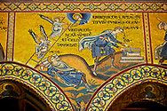 Medieval Byzantine mosaics of Christian scene with Christ and the angels, Monreale Cathedral, Sicily .<br /> <br /> If you prefer you can also buy from our ALAMY PHOTO LIBRARY  Collection visit : https://www.alamy.com/portfolio/paul-williams-funkystock/monrealeduomomosaics.html. Refine search by adding subject etc  into the LOWER SEARCH WITHIN GALLERY box. <br /> <br /> Visit our BYZANTINE MOSAIC PHOTO COLLECTION for more   photos  to download or buy as prints https://funkystock.photoshelter.com/gallery-collection/Roman-Byzantine-Art-Artefacts-Antiquities-Historic-Sites-Pictures-Images-of/C0000lW_87AclrOk