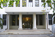 CBCG Centralna Banka Crne Gore, The Central Bank Of Montenegro, the main entrance on the Sveti Petra Saint Peter boulevard Podgorica capital. Montenegro, Balkan, Europe.