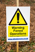 Warning forestry operations sign on Upper Hollesley Common, Suffolk, England, UK