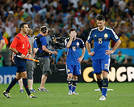Argentina's Lionel Messi (centre) shows dejection at the end of the 2014 FIFA World Cup Final match at Maracana Stadium, Rio de Janeiro<br /> Picture by Andrew Tobin/Focus Images Ltd +44 7710 761829<br /> 13/07/2014