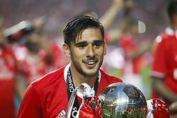 May 13, 2017 - Lisbon, Portugal - Benfica's forward Eduardo Salvio holds the cup after winning their 36th title at the end of the Portuguese league football match SL Benfica vs Vitoria Guimaraes SC at the Luz stadium in Lisbon on May 13, 2017. (Credit Image: © Carlos Palma/NurPhoto via ZUMA Press)