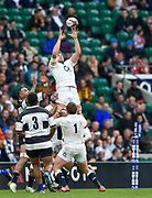 England lock Ed Slater (Leicester Tigers) collects a high ball during the International Rugby Union match England XV -V- Barbarians at Twickenham Stadium, London, Greater London, England on May  31  2015. (Steve Flynn/Image of Sport)