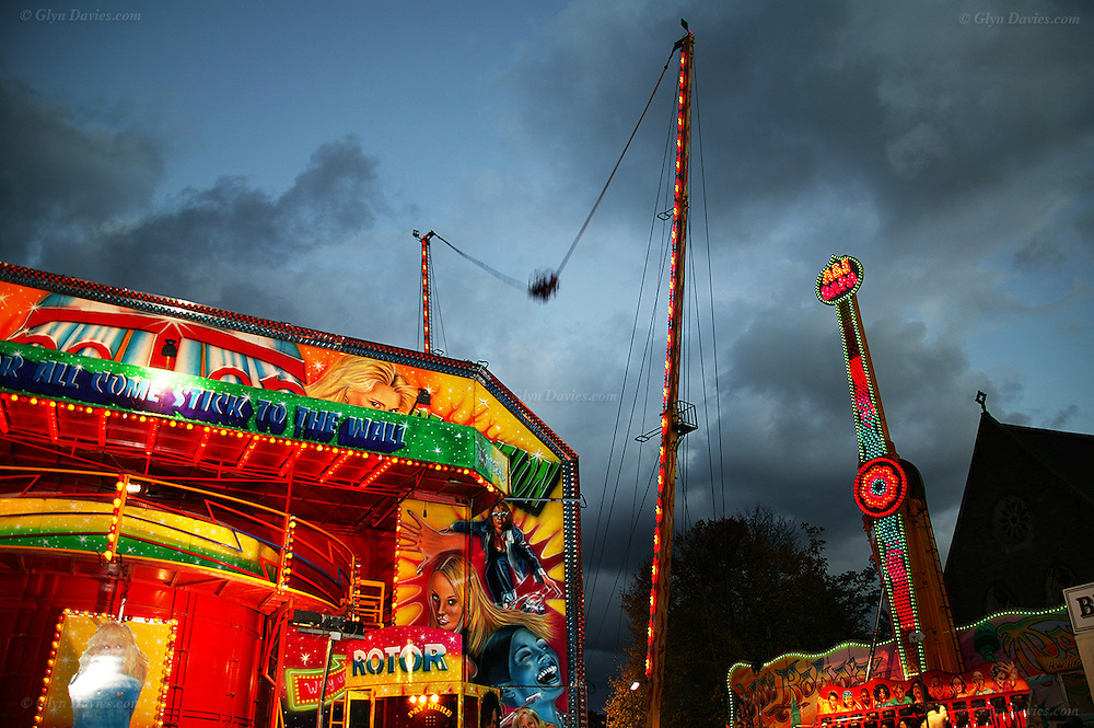 """The tradional and long established """"Ffair Borth"""" or Menai Bridge Fair, at Menai Bridge village on the Isle of Anglesey. This was once a horse fair, but is now predominantly a fun fair  aimed at youngsters, which demands closure of several roads and car parks for the two days of the event"""