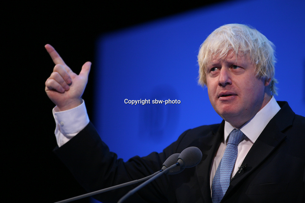 Institute of Directors Annual Conference 2013.<br /> Boris Johnson, Mayor of London speaking on stage.