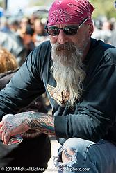 Karl Kreitner at Willie's Tropical Tattoo annual Old School Bike Show during Daytona Bike Week. FL, USA. March 13, 2014.  Photography ©2014 Michael Lichter.