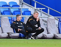 Football - 2019 / 2020 Sky Bet (EFL) Championship - Cardiff City vs. Hull City<br /> <br /> Hull City head coach Grant McCann makes notes, at the Cardiff City Stadium.<br /> <br /> COLORSPORT/ASHLEY WESTERN