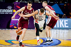 Dairis Bertans of Latvia vs Luka Doncic of Slovenia during basketball match between National Teams of Slovenia and Latvia at Day 13 in Round of 16 of the FIBA EuroBasket 2017 at Sinan Erdem Dome in Istanbul, Turkey on September 12, 2017. Photo by Vid Ponikvar / Sportida