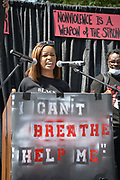 6/6/2020 Jackson MS. <br /> Pictured is student Maisie Brown 18yrs old from Jackson who organized a peaceful protest outside the Governors Mansion. She said there voices would be heard and her face would be seen- change is coming. The protest was in honor of George Floyd and in support of ending systematic racism and to end police brutality in Mississippi and America. The National Black Panthers Party from Tupelo Mississippi showed up outside the Governors mansion in the shadow of the State Capitol to protest police brutality. The National Black Panthers Party was their to show their support for change in Mississippi, to end systemic racism and police brutality. Protests have broken out around the world in solidarity to end white supremacy and police brutality. The Panthers showed up at the end of a peaceful protest organized by 18yr old student Maisie Brown. The brutal murder of African American George Floyd by the knee and hands of 4 former Minneapolis Minnesota police officers has sparked a cry for justice and reform around the world. Photo copyright © Suzi Altman<br /> Student Maisie Brown 18yrs old from Jackson organized a peaceful protest outside the Governors Mansion. She said there voices would be heard and her face would be seen- change is coming. The protest was in honor of George Floyd, another Black man killed by the knees and hands of 4 former Minneapolis Minnesota police officers. The protestors are demanding an end to police brutality  and systematic racism among other issues in Mississippi and America. Protests have broken out around the world in solidarity to end white supremacy and police brutality after the death of Georg Floyd.<br /> <br /> The National Black Panthers Party from Tupelo Mississippi showed up outside the Governors mansion in the shadow of the State Capitol to protest police brutality. The National Black Panthers Party was their to show their support for change in Mississippi, to end systemic racism and police brutality.  The Panthe