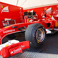 Fernando Allonso's 2012 Ferrari F1 race car with which he won 4 GPs (here seen at the Goodwood Festival of Speed 2013)