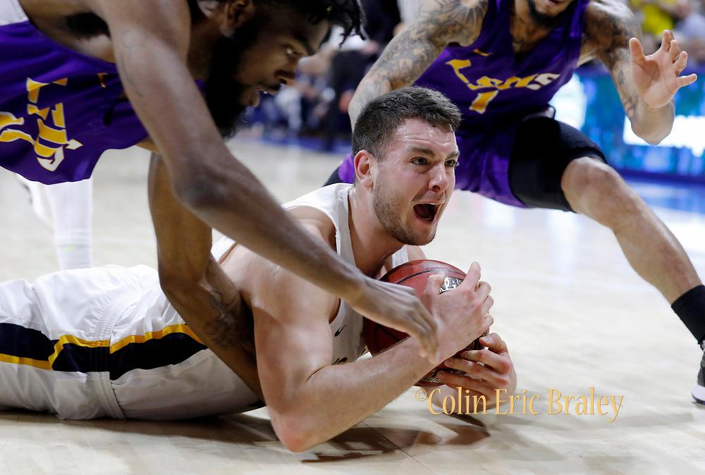 during an NAIA Championship tournament semi-final basketball game on Monday, March 19, 2018, in Kansas City, Mo. (AP Photo/Colin E. Braley)