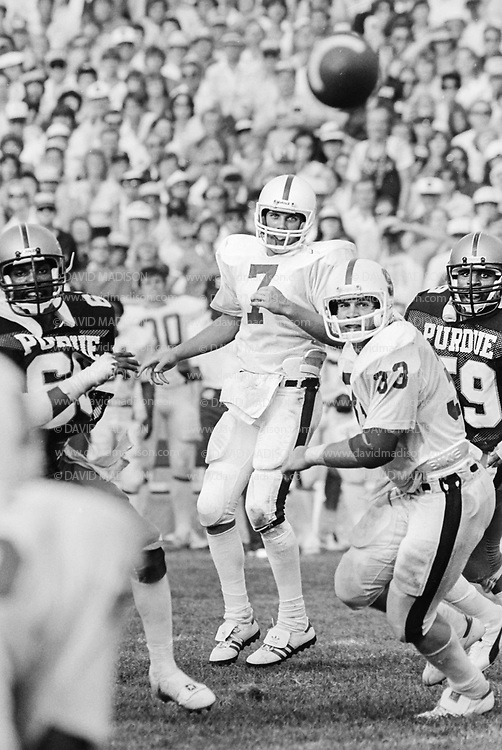 COLLEGE FOOTBALL:  Stanford vs Purdue on September 12, 1981 at Ross-Ade Stadium in Bloomington, Indiana.  John Elway #7.  Photograph by David Madison ( www.davidmadison.com ).