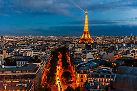 High angle view of Paris featuring the EIffel Tower at twilight. Paris, France.