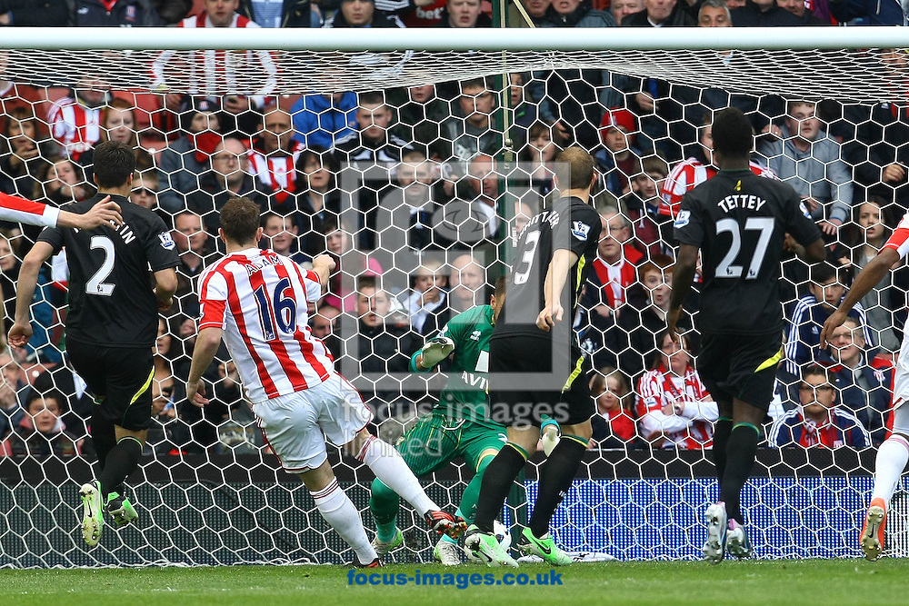 Picture by Paul Chesterton/Focus Images Ltd +44 7904 640267.27/04/2013.Charlie Adam of Stoke scores his sides 1st goal and celebrates during the Barclays Premier League match at the Britannia Stadium, Stoke-on-Trent.
