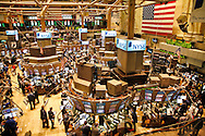Stock Brokers at work on the floor of the New york Stock Exchange durring the latest fincial crisis which has effected the international market as well(Multiple values)