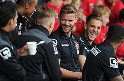 Bournemouth's Simon Francis is all smiles prior to kick off - Photo mandatory by-line: Harry Trump/JMP - Mobile: 07966 386802 - 18/07/15 - SPORT - FOOTBALL - Pre Season Fixture - Exeter City v Bournemouth - St James Park, Exeter, England.