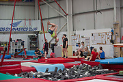 The British Ski and Snowboard team train at Leeds Gymnastic Club on 21st July 2017 in Leeds, United Kingdom. Leeds Gymnastic Club is one of the training facilities for the GB Snow team in the UK.