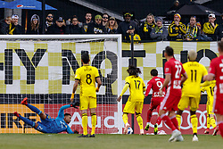 November 4, 2018 - Columbus, OH, U.S. - COLUMBUS, OH - NOVEMBER 04: Columbus Crew goalkeeper Zack Steffen (23) blocks a shot in the MLS eastern conference semifinals game between the Columbus Crew SC and the New York Red Bulls on November 04, 2018 at Mapfre Stadium in Columbus, OH. The Crew won 1-0. (Photo by Adam Lacy/Icon Sportswire) (Credit Image: © Adam Lacy/Icon SMI via ZUMA Press)