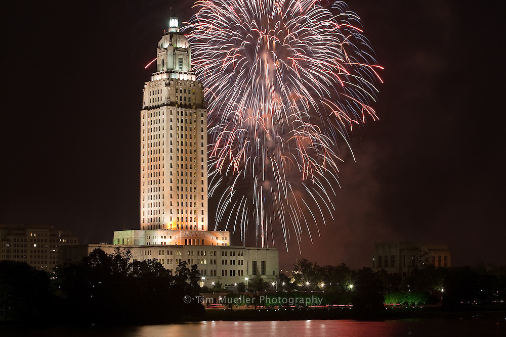 The Fireworks on the Mississippi Fourth of July celebration occurs each year along the river near the Louisiana State Capitol in Baton Rouge.