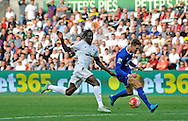 Eder of Swansea City chases down John Stones of Everton in the second half.<br /> Barclays Premier League match, Swansea city v Everton at the Liberty Stadium in Swansea, South Wales on Saturday 19th September 2015.<br /> pic by Phil Rees, Andrew Orchard sports photography.