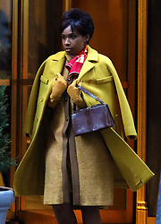 """Jennifer Hudson wears a fashionable yellow outfit as she wraps filming the Aretha Franklin biopic """"Respect"""" in Manhattan's City Hall area. 15 Feb 2020 Pictured: Jennifer Hudson. Photo credit: LRNYC / MEGA TheMegaAgency.com +1 888 505 6342"""