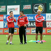 Besiktas's Coach Tayfur HAVUTCU (L) during their new season training at BJK Nevzat Demir training center in Istanbul, Turkey, 30 June 2011. Photo by TURKPIX