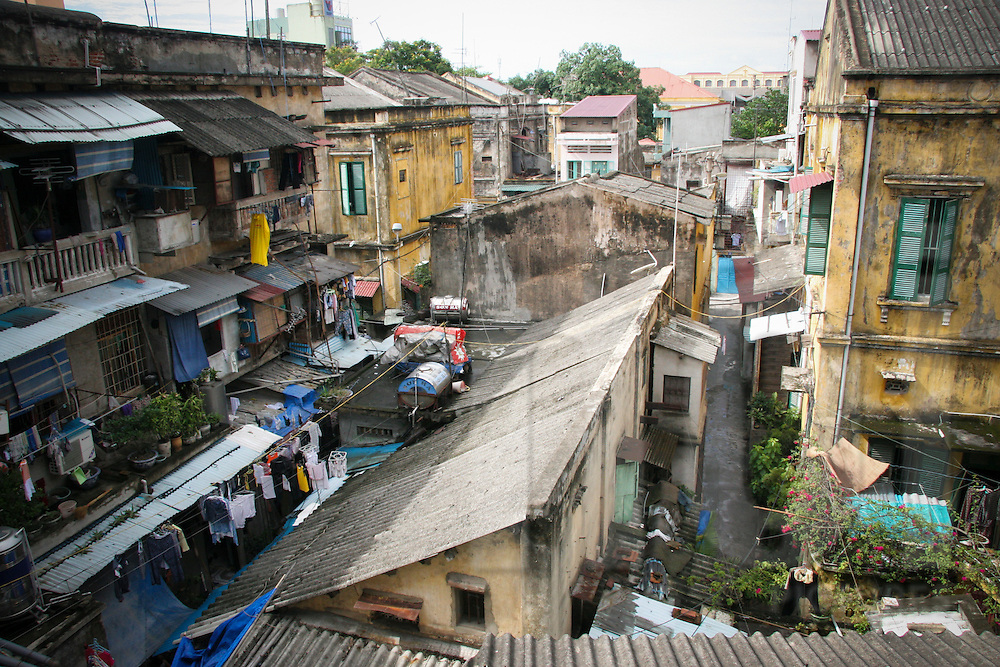 View from window, old residential apartments area, hanoi, Vietnam, Asia.
