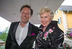 """08.05.2015, Schlosshotel Velden, Velden, AUT, 25 Jahre, Ein Schloss am Wörthersee, Klassentreffen die Gala, im Bild Waltraud Haas mit Begleitung // Waltraud Haas ( L ) during the Gala of Class reunion - 25th anniversary of tv series """"Ein Schloss am Wörthersee"""" at the Schlosshotel Velden, Austria on 2015/05/08. EXPA Pictures © 2015, PhotoCredit: EXPA/ Johann Groder"""