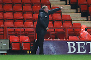 AFC Wimbledon manager Wally Downes pointing and shouting during the EFL Sky Bet League 1 match between Charlton Athletic and AFC Wimbledon at The Valley, London, England on 15 December 2018.