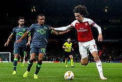 Matteo Guendouzi of Arsenal takes on Bruno Gaspar of Sporting Lisbon - Mandatory by-line: Robbie Stephenson/JMP - 08/11/2018 - FOOTBALL - Emirates Stadium - London, England - Arsenal v Sporting Lisbon - UEFA Europa League