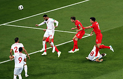 England's John Stones heads at goal during the FIFA World Cup Group G match at The Volgograd Arena, Volgograd. PRESS ASSOCIATION Photo. Picture date: Monday June 17, 2018. See PA story WORLDCUP England. Photo credit should read: Tim Goode/PA Wire. RESTRICTIONS: Editorial use only. No commercial use. No use with any unofficial 3rd party logos. No manipulation of images. No video emulation