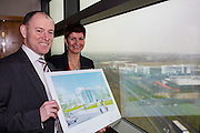 NO FEE PICTURES <br /> 14/2/16 Irish Life has announced that it plans to increase its presence in Dundalk, Co. Louth, with the building of a new Irish Life Customer Service Centre in Finnabair Business Park. The proposed new site area is 1.6 hectares with an office size of 45,000 sq. feet. The expansion announcement reinforces Irish Life's continued commitment to the local area and its employees based in Dundalk.<br /> Pictured is David Harney, Chief Excutive Irish Life and Aine Cassidy, Excutive Manager Financial Planning.  Arthur Carron
