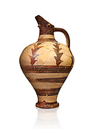 Minoan decorated jug for export, Kommos Harbour 1600-1450 BC; Heraklion Archaeological  Museum, white background. .<br /> <br /> If you prefer to buy from our ALAMY PHOTO LIBRARY  Collection visit : https://www.alamy.com/portfolio/paul-williams-funkystock/minoan-art-artefacts.html . Type -   Heraklion   - into the LOWER SEARCH WITHIN GALLERY box. Refine search by adding background colour, place, museum etc<br /> <br /> Visit our MINOAN ART PHOTO COLLECTIONS for more photos to download  as wall art prints https://funkystock.photoshelter.com/gallery-collection/Ancient-Minoans-Art-Artefacts-Antiquities-Historic-Places-Pictures-Images-of/C0000ricT2SU_M9w