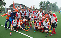 ABCOUDE - Het team van Abcoude. VOLVO JUNIOR CUP hockey . Abcoude C1  en Heerhugowaard ,  strijden in Abcoude om de cup. Heerhugowaard wint met 3-1. COPYRIGHT KOEN SUYK